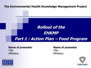 The Environmental Health Knowledge Management Project