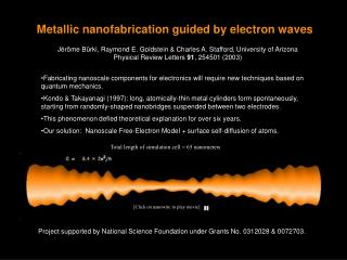 Metallic nanofabrication guided by electron waves