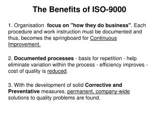 The Benefits of ISO-9000
