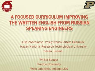 A Focused Curriculum Improving the Written English from Russian Speaking Engineers