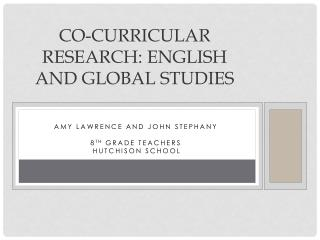 Co-curricular Research: english and global studies