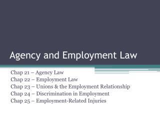 Agency and Employment Law