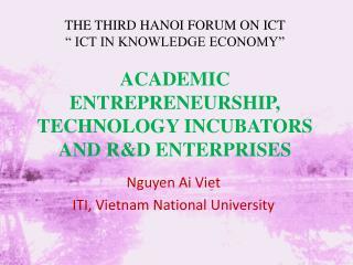 ACADEMIC ENTREPRENEURSHIP, TECHNOLOGY INCUBATORS AND R&D ENTERPRISES