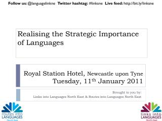 Royal Station Hotel ,  Newcastle upon Tyne Tuesday, 11 th  January 2011
