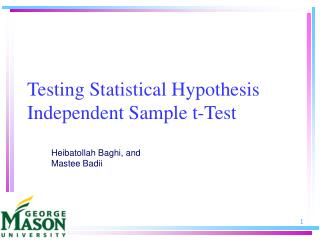 Testing Statistical Hypothesis Independent Sample t-Test