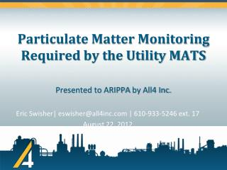 Particulate Matter  Monitoring Required by the  Utility MATS