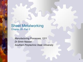 Sheet Metalworking Chapter 20- Part 2