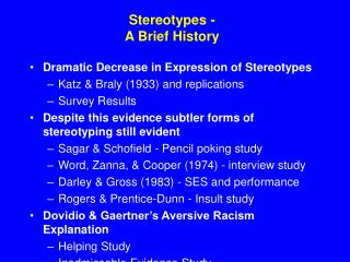 Stereotypes - A Brief History