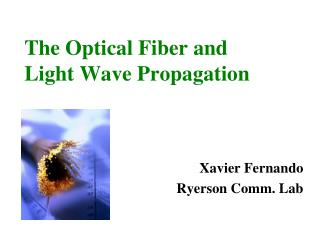 The Optical Fiber and  Light Wave Propagation