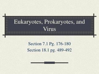 Eukaryotes, Prokaryotes, and Virus