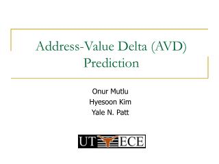 Address-Value Delta (AVD) Prediction