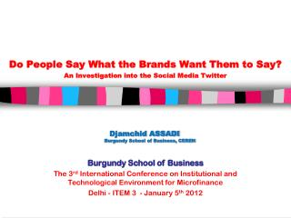 Djamchid ASSADI Burgundy School of Business, CEREN