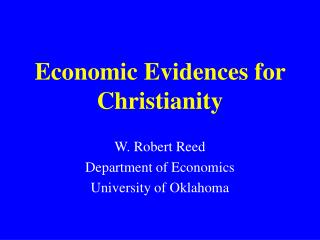 Economic Evidences for Christianity