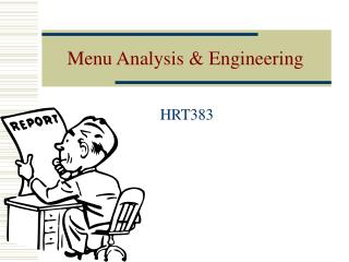 Menu Analysis & Engineering