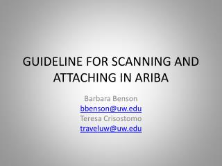 GUIDELINE FOR SCANNING AND ATTACHING IN ARIBA