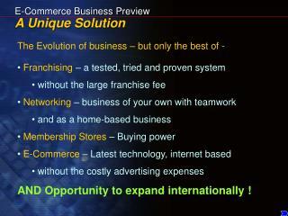 E-Commerce Business Preview A Unique Solution