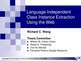 Language-Independent Class Instance Extraction Using the Web