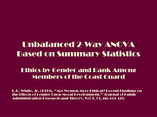 Unbalanced 2-Way ANOVA Based on Summary Statistics