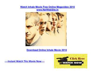 Inhale Movie Free Online Review