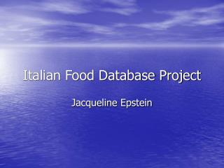 Italian Food Database Project