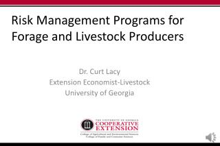 Risk Management Programs for Forage and Livestock Producers