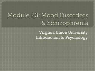 Module 23: Mood Disorders & Schizophrenia