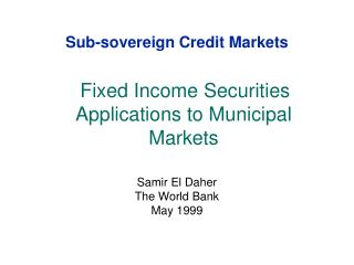 Sub-sovereign Credit Markets