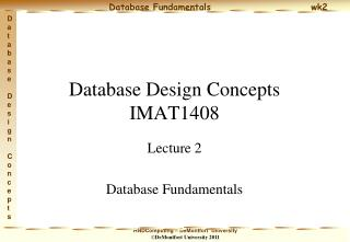 Database Design Concepts IMAT1408