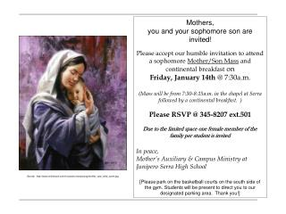 Mothers, you and your sophomore son are invited!