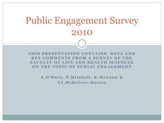 Public Engagement Survey 2010