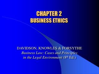 CHAPTER 2  BUSINESS ETHICS
