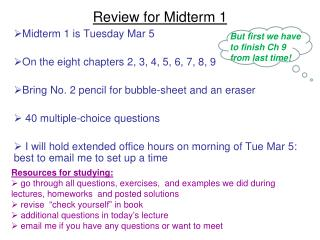 Review for Midterm 1