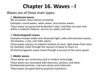 Chapter 16. Waves - I