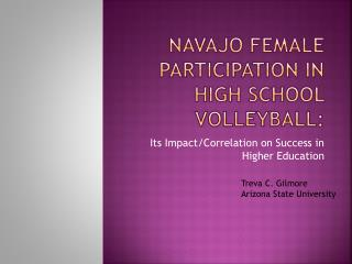 Navajo Female Participation in high school volleyball: