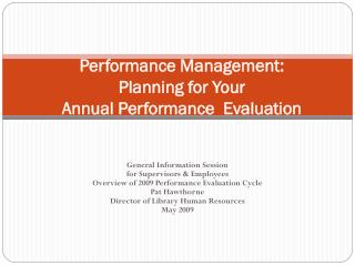 Performance Management: Planning for Your  Annual Performance  Evaluation
