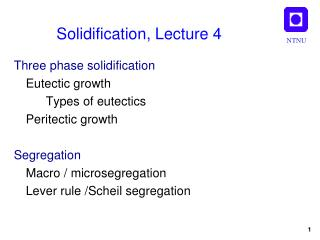 Solidification, Lecture 4