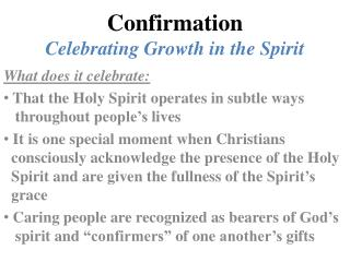Confirmation Celebrating Growth in the Spirit