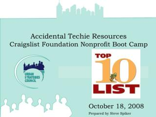 Accidental Techie Resources Craigslist Foundation Nonprofit Boot Camp