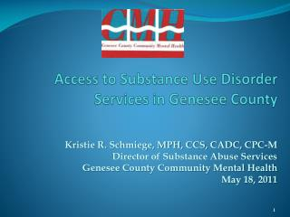 Access to Substance Use Disorder   Services in Genesee County