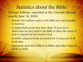 Statistics about the Bible