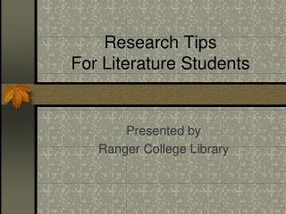 Research Tips For Literature Students