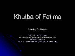 Khutba of Fatima Edited by Dr. Hashim