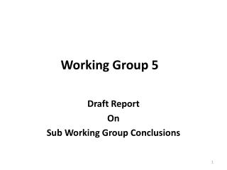Working Group 5
