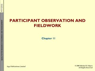 PARTICIPANT OBSERVATION AND FIELDWORK