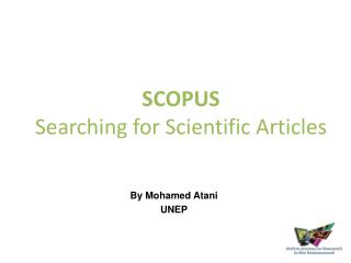 SCOPUS  Searching for Scientific Articles