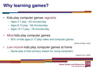 Why learning games?