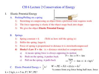 CH 6 Lecture 2 Conservation of Energy