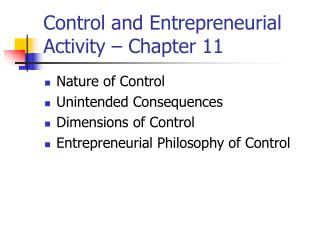 Control and Entrepreneurial Activity – Chapter 11