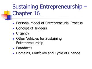 Sustaining Entrepreneurship – Chapter 16