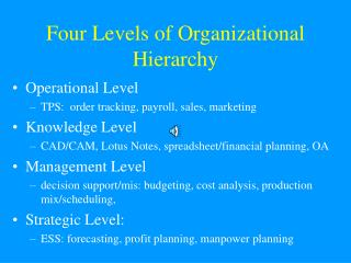Four Levels of Organizational Hierarchy